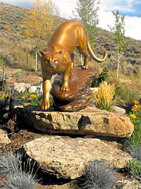 David R Nelson Bronze Cougar Mountain Lion Sculptures
