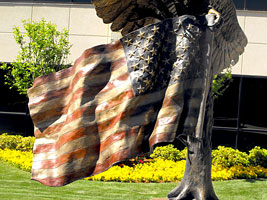 Bronze Eagle with American Flag Sculptures